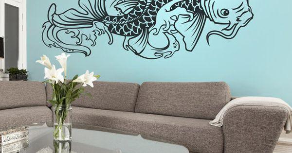 Autocollant de mur de vinyle de poissons de koi tatouage for Appliqu mural autocollant