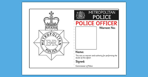 Police Identity Badge Role Play Template Badge Template Id Card Template Role Play Areas