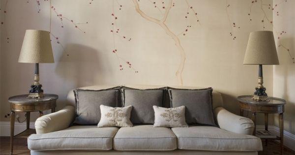 Muster Tapeten Wohnzimmer Beige Polsterdofa Chinesische Blüten ... Tapeten Wohnzimmer Beige