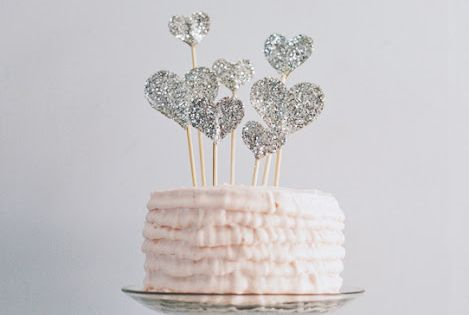 Glitter Heart Cake Topper, baby shower cake