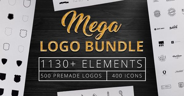 1130+ Mega Logo Bundle Creator Kit with element of banners, shields, bursts, labels, circles