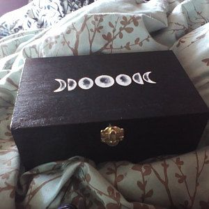 Wooden Stash Box Moon Phase Witch Stash Box Hand Painted Storage Box.