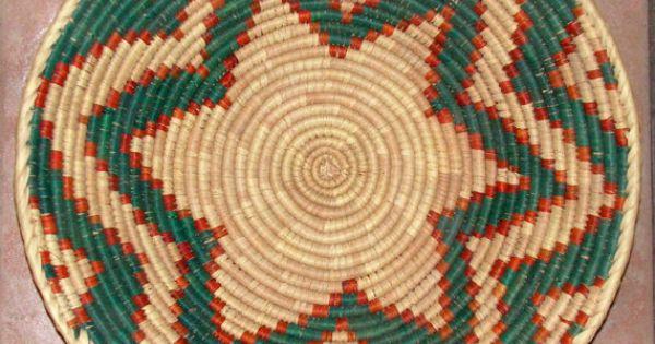 Coil Basket Weaving Patterns : Vintage basket tray coil star pattern tribal ethnic decor