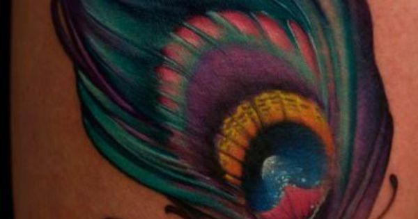 Rainbow color peacock feather tattoo on legs tattoo tattoos ink inked art