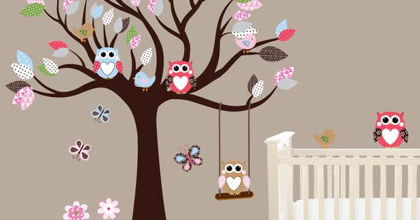 owl baby nurseries | Baby Nursery Wall Stickers Children Wall Decal by