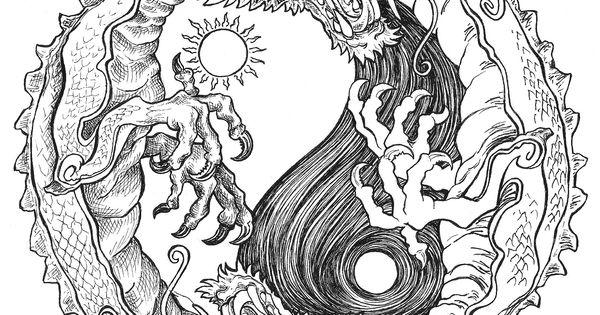 yin yang coloring pages - sun and moon dragon yin yang coloring pages colouring