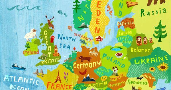 Europa Landkarte Illustration Kunst Druck Poster Digitaldruck Reise laender Deutschland Schweden Frankreich Italien Spanien Lernen Kinder von ChEngel auf Etsy http://ift.tt/2nLmCWg