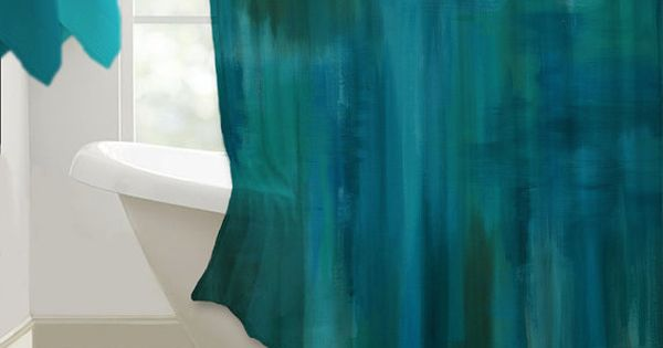 Shower curtain abstract art teal turquoise blue home for Turquoise blue bathroom accessories