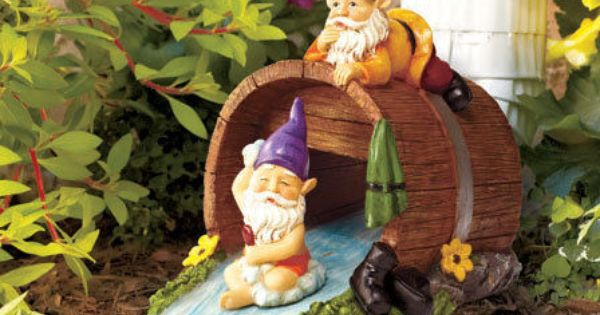 Bathing Gnome Whimsical Rain Gutter Downspout Water