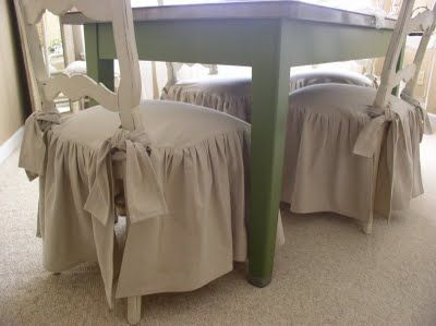 Drop Cloth Decorating Chair Slipcovers Skirts And Ruffles