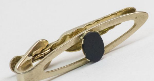 Vintage Tie Clip Onyx Tie Bar Gold Toned Metal by CuffsandClips, $13.50