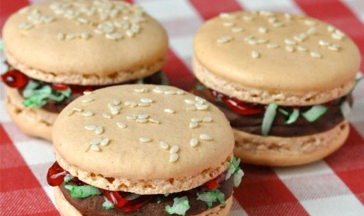 Hamburger Macarons via Creative Juice. Gourmet French Macarons.