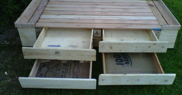 Pallet bed with drawers bed drawer pallets recycled for How to make a pallet bed with drawers