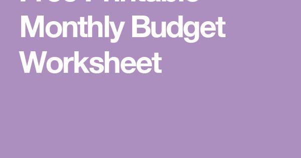 Free Printable Monthly Budget Worksheet | Budget worksheets ...