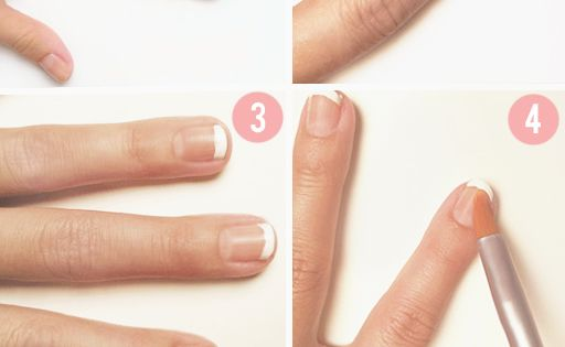 At-home French Tips: Paint the tips white, then dip a brush into