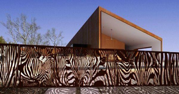 außen architektur ideen garten zaun metall figuren modern,
