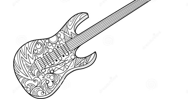 Electric Guitar Coloring Book For Adults Vector Stock Vector