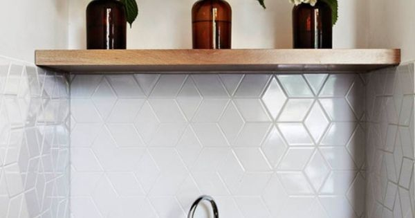 White Geometric Backsplash Tile Home Sweet Home Inside
