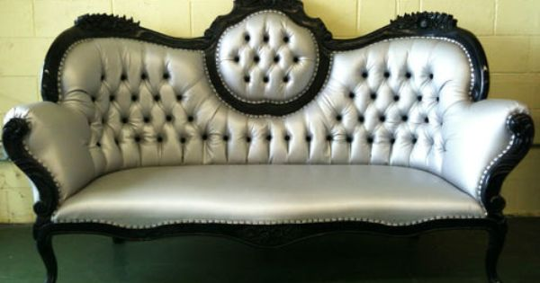 Xl silver black chaise sofa lounger by for Black and silver chaise lounge