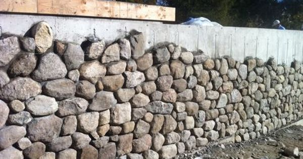 Covering Cement Wall With Stone Veneer For Our Lovely Retaining