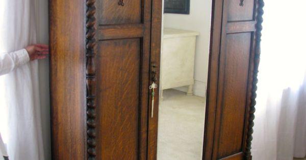Antique English Oak Armoire Three Piece By Awtoyshoppe On
