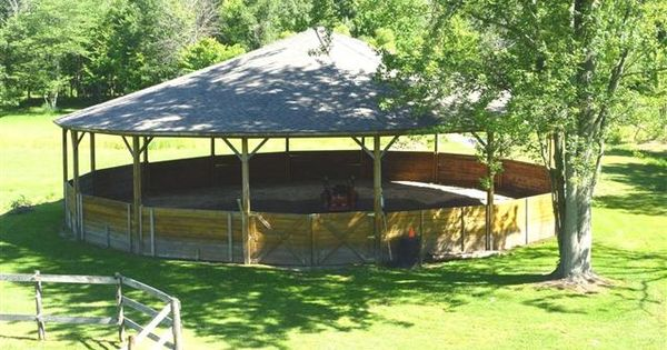 60' covered round pen with 5' walls & lights