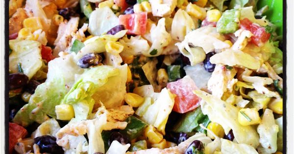 Healthy Chicken Taco salad: black beans, corn, green peppers, tomatoes, cilantro, green