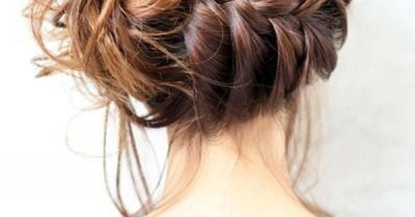 French Braid Bun Ideas: Side Updo Hairstyles - messy french side braided