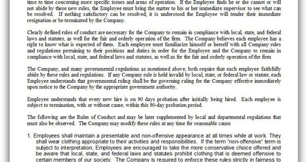 free printable employee rules of conduct