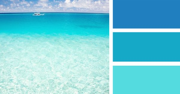I would pin every ocean beach tropical color scheme ever for Ocean blue color combinations