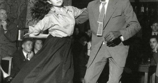 """ROBERT DOISNEAU. """"Be-Bop en cave, Saint-Germain-des-Prés, Paris"""". 1951 swing dance"""