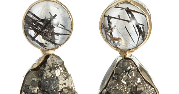 Sandra Dini Black Rutilated Quartz & Pyrite Earrings at Barneys.com