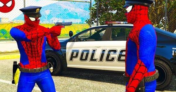 Spiderman Policeman On Police Car Saves People Cartoon For Kids