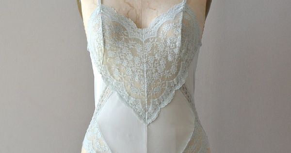 vintage lingerie / lace romper / Pale Mint teddy by DearGolden, $42.00