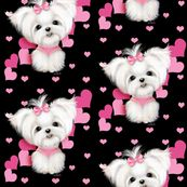 Maltese Black And Hearts By Catiacho Spoonflower Digitally Printed Fabric Wallpaper And Gift Wrap Susse Hunde Niedlich Hunde