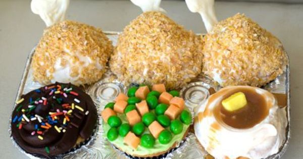 TV Dinner Cupcakes. Would be fun to do for April Fool's Day