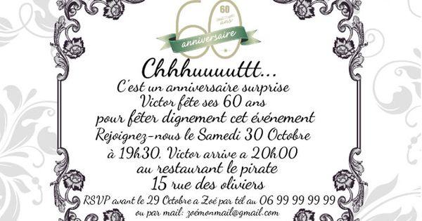 Invitation anniversaire surprise 60 ans imprimer vous pouvez la personnaliser et l 39 imprimer - Comment organiser un anniversaire surprise ...