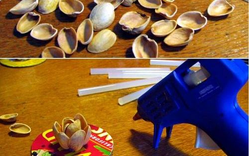 DIY Pistachios Shell Flower DIY Crafts Projects Flowers recyclart