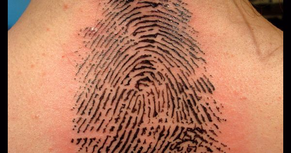 I like the finger print tattoo idea, i just wouldn't get it