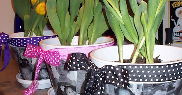 #Flower pots with the kids' pictures mothersday giftidea DIY craft