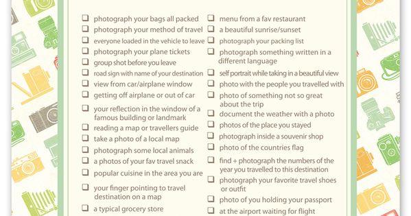 Free printable travel photo checklist. 50 Photo Ideas to take while on