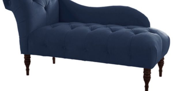Tufted upholstered chaise lounge velvet navy studio for Cameron tufted chaise