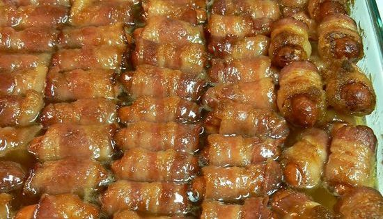 Bacon Wrapped Smokies with Brown Sugar and Butter. I guarantee if you make these, they will be gone! I made them for a gathering and everyone just kept eating them, and eating them until they are all gone. These are one of the best appetizers I've ever ...