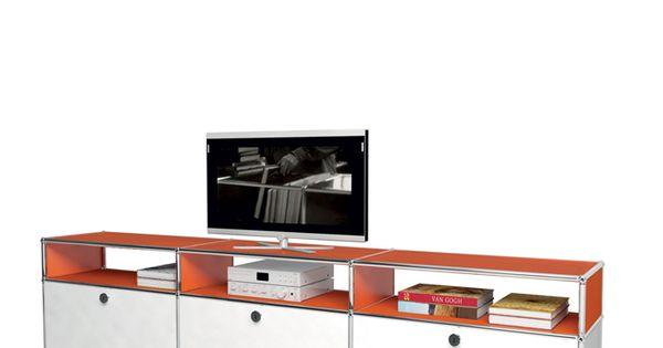 Usm modular furniture media orange white meuble usm haller for Meuble tv usm