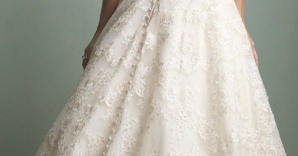 Strapless low back all lace gown with buttons TO THE FLOOR. Allure