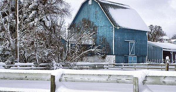 Snowy Morning, old barn, love the color