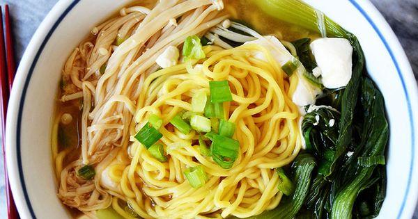 Ramen Miso Soup with Enoki Mushrooms & Baby Bok Choy ...