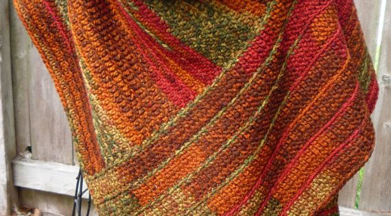 Crocheted Buttoned Wrap in Autumn Colors Inspiration for handwoven Buttoned wrap made