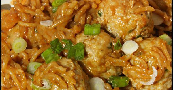 Asian spaghetti, Spaghetti and meatballs and Peanut sauce on Pinterest