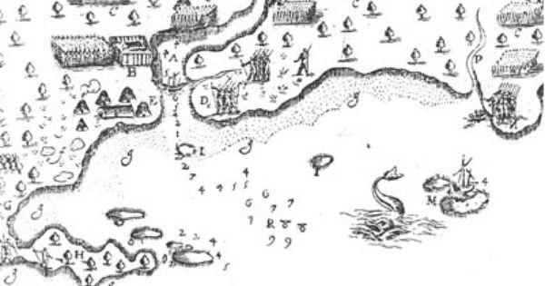 """Caption: """"This 1613 Map Of Saco, Maine, By Samuel De"""